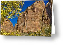 Mountain Cliffs At Zion Greeting Card