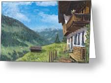 Mountain Farm In Austria Greeting Card