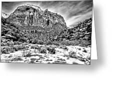 Mountain In Winter - Bw Greeting Card
