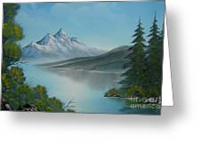 Mountain Lake Painting A La Bob Ross Greeting Card