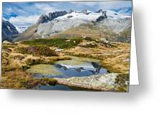 Mountain Landscape Water Reflection Swiss Alps Greeting Card