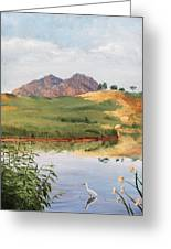 Mountain Landscape With Egret Greeting Card
