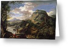 Mountain Landscape With Figures Greeting Card