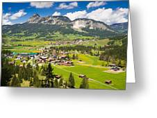 Mountain Landscape With Village In The Allgaeu Alps Austria Greeting Card