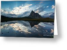 Mountain Peak And Clouds Reflected In Alpine Lake In The Dolomit Greeting Card