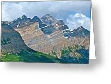 Mountain Peaks From Bow Summit Along Icefield Parkway In Alberta Greeting Card