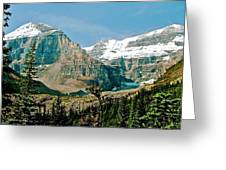 Mountain Peaks From Plain Of Six Glaciers Trail In Banff Np-albe Greeting Card