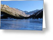 Mountain Reflection On Frozen Lake Greeting Card