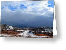 Mountain Snow Coming  Greeting Card