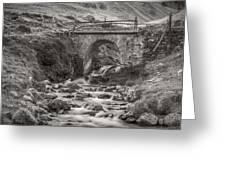 Mountain Stream With Bridge Greeting Card