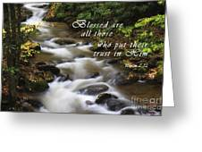 Mountain Stream With Scripture Greeting Card