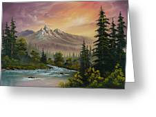 Mountain Sunset Greeting Card by C Steele