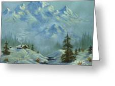 Mountain View With Creek Greeting Card