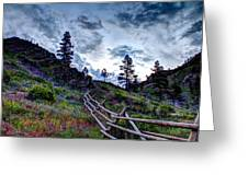 Mountain Wooden Fence  Greeting Card