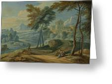 Mountainous Landscape, Adriaen Frans Boudewyns Greeting Card