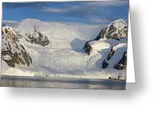 Mountains And Glacier At Sunset Greeting Card