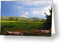 Mountains Corn And Blue Skies Greeting Card