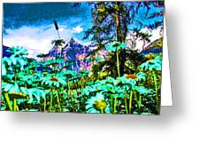 Mountains Hiding Behind Flowers Greeting Card