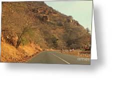 Mountainside And Stall Greeting Card