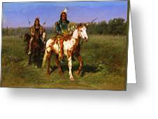 Mounted Indians Carrying Spears Greeting Card