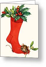 Mouse In A Christmas Sock Greeting Card