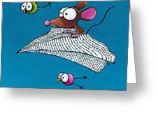 Mouse In His Paper Aeroplane Greeting Card