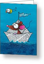 Mouse In His Paper Boat Greeting Card