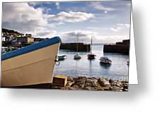 Mousehole Harbour On A May Morning Greeting Card