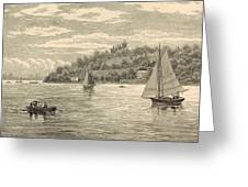 Mouth Of The Shrewsbury River 1872 Engraving Greeting Card by Antique Engravings