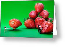 Moving Strawberries To Depict Friction Food Physics Greeting Card