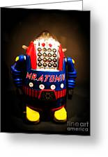 Mr. Atomic Tin Robot Greeting Card by Edward Fielding