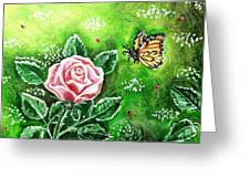 Ms. Monarch And Her Ladybug Friends Greeting Card