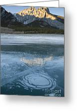Mt. Abraham And Ice On Abraham Lake Greeting Card
