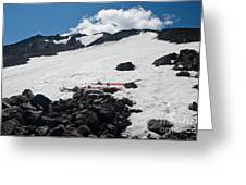 Mt. Bachelor Summit With Skis Greeting Card