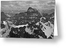 T-703512-bw-mt. Hungabee From Summit Of Mt. Lefroy-bw Greeting Card