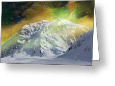 Mt. Hunter Aurora # Da 129 Greeting Card