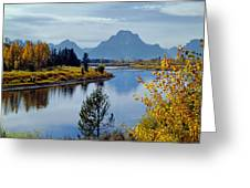 1m9208-mt. Moran And The Snake River, Wy Greeting Card