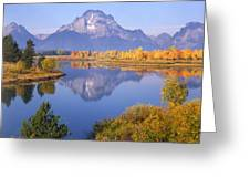 1m9234-mt. Moran Reflection, Wy Greeting Card