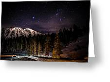 Mt. Rose Highway And Ski Resort At Night Greeting Card