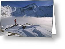 Mt Sefton Climber At Mueller Glacier Greeting Card