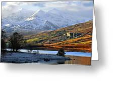Mt Snowdon Snowdonia The Snowdon Horseshoe From Llynnau Mymbyr Greeting Card