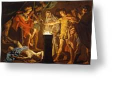 Mucius Scaevola In The Presence Of Lars Porsenna Greeting Card