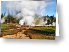 Mud Volcano And Sulphur Caldron  Greeting Card
