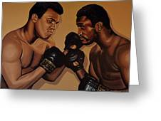 Muhammad Ali And Joe Frazier Greeting Card by Paul Meijering