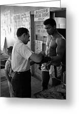 Muhammad Ali With Trainer Greeting Card by Retro Images Archive