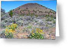 Mule's Ears And Schonchin Butte In Lava Beds Nmon-ca Greeting Card