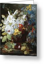 Multi-colored Flower Bouquet In Brown Vase C1784 Greeting Card