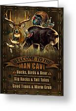 Multi Specie Man Cave Greeting Card by JQ Licensing