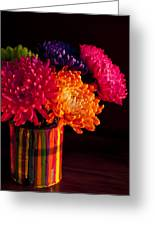 Multicolored Chrysanthemums In Paint Can On Chest Of Drawers Int Greeting Card