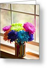 Multicolored Chrysanthemums In Paint Can On Window Sill Greeting Card